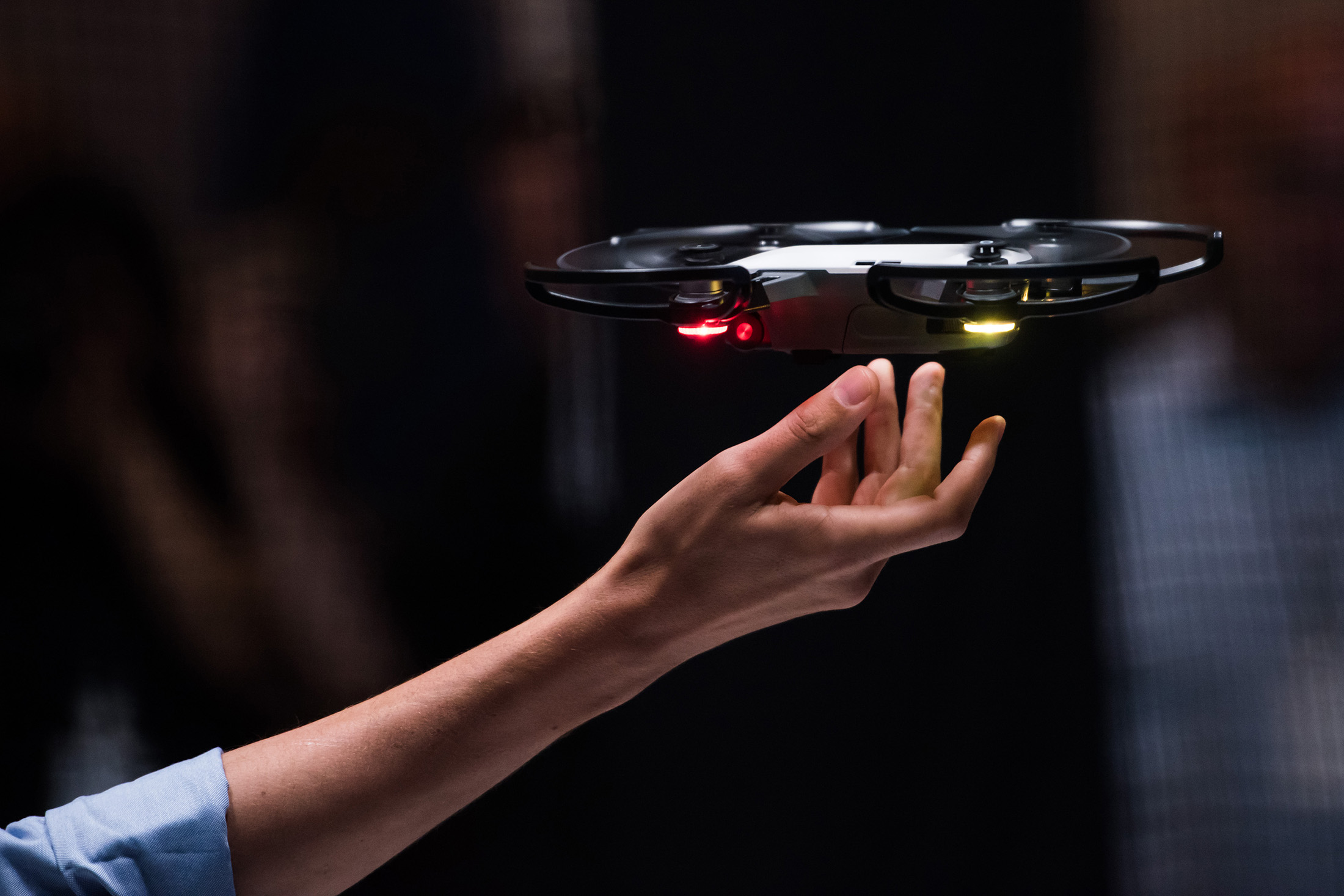 Michael Perry, Director of Strategic Partnerships for DJI Drones, launches the DJI Spark gesture-controlled selfie drone at a DJI Drone event in New York, U.S., on Wednesday, May 24, 2017. Mark Kauzlarich/Bloomberg