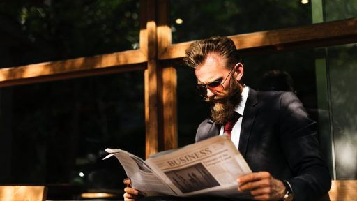 Stylish man read newspaper