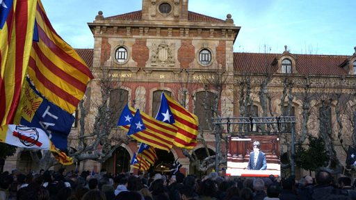 Catalan parliament before independence moment