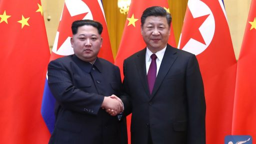Kim in China with Xi
