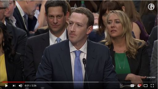 Mark Zuckerbegr in front of US Congress