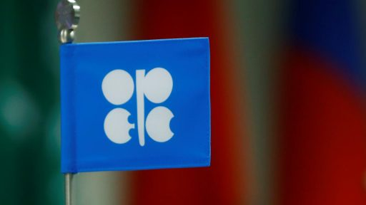 A flag with the Organization of the Petroleum Exporting Countries (OPEC) logo is seen during a meeting of OPEC and non-OPEC countries in Vienna