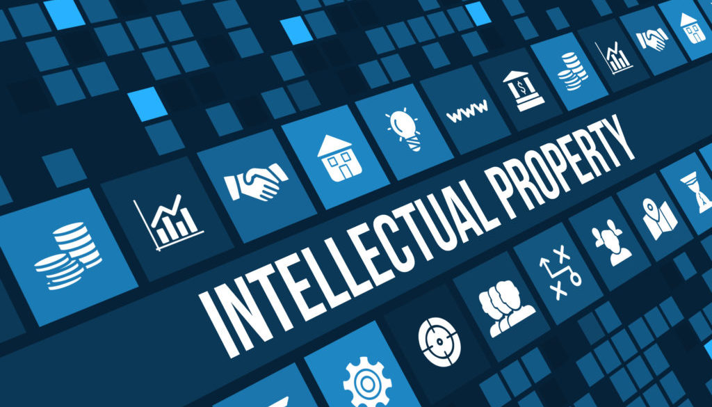 Intellectual Property concept image with business icons and copyspace